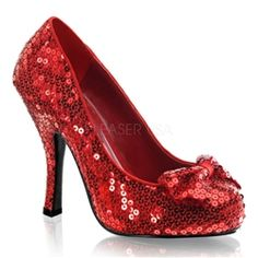 """$70 Dorothy Wizard of Oz Ruby Red Slipper pumps. 4 1/2"""" high heel shoe with red Sequin upper and sequin bow on the vamp. Pleaser Funtasma Oz-06 Costume Shoe."""