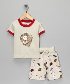 Take a look at this Red & Stone Baseball Pajama Set - Infant Boys by Counting Sheep Collection on #zulily today!