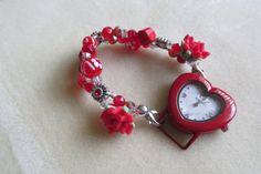 Red Heart Shape Watch Red Beaded Watch by CASSELIZADESIGNS on Etsy