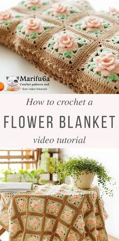 Rose Granny Blanket Crochet Pattern Tutorial / LOVE THE COLORS HERE....NOT CRAZY BOUT GRANNY BLANKETS THOUGH.