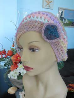 crocheted Wool hat  with flower accent