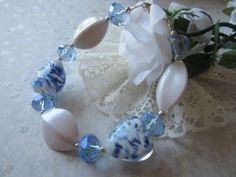 Large Blue and White Lampwork Hearts with Blue Crystals - Bracelets