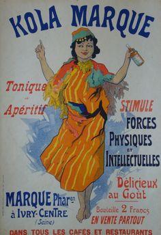 1895 French Art Nouveau Poster, Kola Marque - Cheret