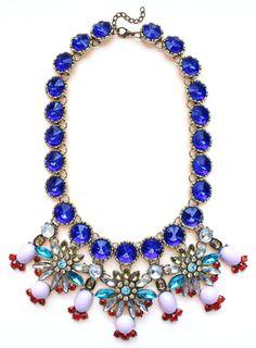 Luxe Cobalt Crystal Firework Statement Necklace