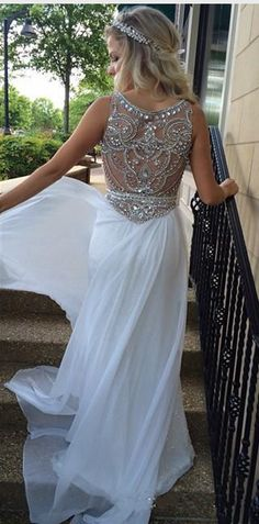 2016 Prom dresses,sequin prom dresses,ivory prom dresses,see through back prom dresses,sequin prom gowns,white prom dress,long evening dress, #promdresses #sequinpromdresses #longpromdresses formal women dresses