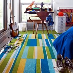FLOR carpet squares ready rug for play area - Seeing Stripes - Teal
