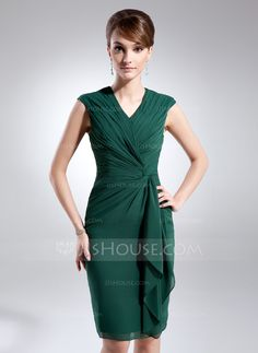 7648ba19d9ad Sheath Column V-neck Knee-Length Chiffon Mother of the Bride Dress With
