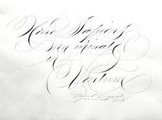 Calligraphie de David Lozach  French calligrapher… Spencerian - humoristic sentence  …