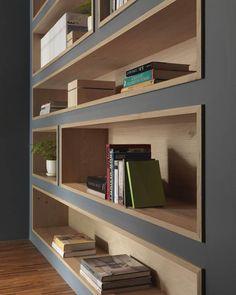 bibliothèque sur mesure cadre gris niche en bois