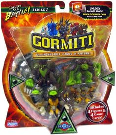 Gormiti The Invincible Lords of Nature - Series 2 by MPA. $11.95. Fast action figure included. Four Trading Cards. Build your army and battle against your opponent to rule the island of Gorm!. Four Figures. Each pack comes with:. From the Manufacturer                The fastest growing Boy Brand in Europe with over 100% annual growth in the past two years is now coming to America!  Six different tribes (Earth, Water, Forest, Volcano/Magma and Volcano/Lava) exist in ...