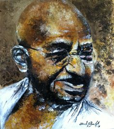 The Mahatma Gandhi. Painting by Soroush Payandeh  Technique Mix Media on Wood Size 4x4 foot www.payandehdesign.com www.soroushpayandeh.com