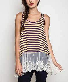 Purple & Yellow Stripe Lace-Trim Swing Tunic #zulily #zulilyfinds