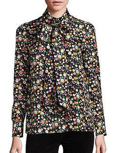 806ac3a72124 Tory Burch Azra Silk Floral-Print Tie-Neck Blouse