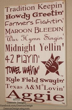 Texas A University wall art by DeenasDesign - https://www.facebook.com/DeenasDesign - $47.00