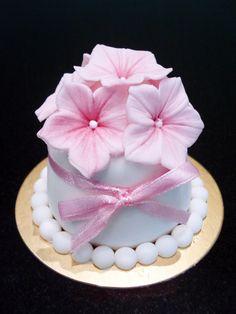 Pink Blossoms Mini Cake by Sliceofcake.deviantart.com on @deviantART