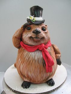 ... make Groundhog Day Cake. #cute #food #holidays #Groundhog_Day #cake
