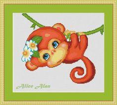 Cheerful Marmoset on a vine gift born in year Monkey от HallStitch
