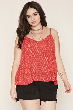 Forever 21+ - A crinkled woven cami featuring an allover diamond print with a V-neckline, a tassel self-tie cutout back, and adjustable straps.