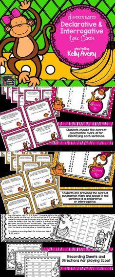 Differentiated declarative and interrogative task cards guaranteed to promote 100% student engagement! #teachersfollowteachers #teacherspayteachers #iteachtoo