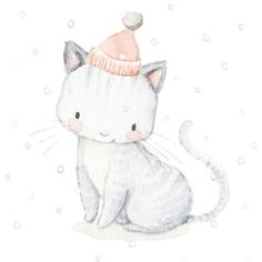 Un lindo gatito navideño, miaaaauuuuu 😆🐈 Christmas Drawing, Christmas Cats, Watercolor Animals, Watercolor Paintings, Baby Animals, Cute Animals, Art Impressions Stamps, Foto Baby, Dibujos Cute
