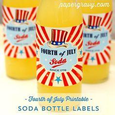 Printable 4th JULY  Soda Bottle Labels