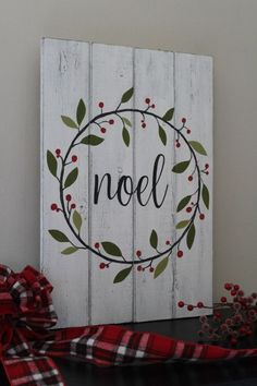 Noel Sign Christmas Sign Hand Painted Wood Sign Christmas Wreath Rustic Home Dec. - Noel Sign Christmas Sign Hand Painted Wood Sign Christmas Wreath Rustic Home Decor Mantle Decor Dis - Christmas Signs Wood, Rustic Christmas, Christmas Art, Christmas Projects, Winter Christmas, Holiday Crafts, Christmas Wreaths, Christmas Decorations, Holiday Signs