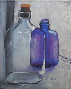 Bodegón pintura Bodegón de la botella arte por CarolSchiffStudio