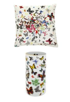 Christian Lacroix Butterfly parade vase and pillow, beautiful.