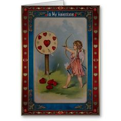 Valentines Day - Cupid shoots an arrow at heart. Valentines Day - Greeting Cards in Vintage Style Vintage Valentine Cards, Valentine Day Cards, Vintage Style, Vintage Fashion, Valentine's Day Greeting Cards, Heart Cards, Cupid, Arrow, Create Your Own