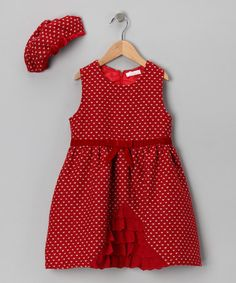 Take a look at this Red Heart Ruffle Dress & Beret - Girls by Butterflies & Moonbeams on #zulily today!