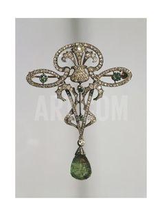 Diamonds and Emeralds Brooch, around 1890 Giclee Print at Art.com