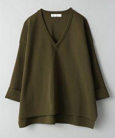 JEANASIS(ジーナシス)の12GソウバリVプルオーバー8S/568586(Tシャツ/カットソー)|カーキ