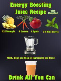 Energy Boosting Juice Recipe http://healthfitnessnme.blogspot.com/2013/01/energy-boosting-juice-recipe.html