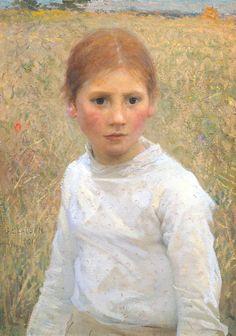 Sir George Clausen - Brown Eyes, 1891, oil on canvas