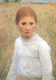 "Sir George Clausen, ""Brown Eyes"" (1891) (Tate Britain, 13 July 2014) This is a portrait of a local girl from the village of Cookham in Berkshire, where the artist was living in 1891. Clausen started painting open-air 'rural naturalist' subjects from 1880, in imitation of the French painter Jules Bastien-Lepage. The delicate play of light across the model's features, together with the flicked Impressionist brushwork in the background, suggest both the freshness and ephemerality of youth."