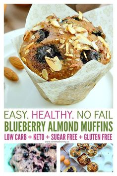 Blueberry Almond muffins - low carb, easy, grain free, sugar free and keto friendly moist breakfast muffins. #sugarfree #lowcarb #keto #muffins #breakfast