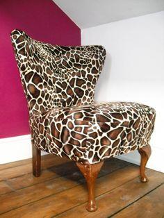 giraffe print chair.. again.. fun print.. for the right space