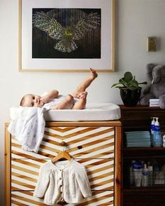 Dress up a basic dresser with a fun painted pattern.