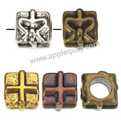 Zinc Alloy Cross Large Hole Beads,Plated,Cadmium And Lead Free,Various Color For Choice,Approx 8*8.5*8.5mm,Hole:Approx 4.5mm,Sold By Bags,No 003226