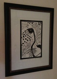 Framed lino print by Sarah Menzies