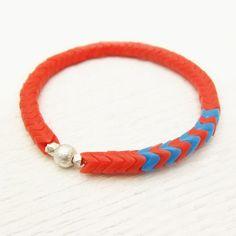 Orange Chevron Vintage African Trade Bead Bracelet with by byjodi