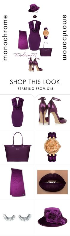 """""""in full plume"""" by twokismets ❤ liked on Polyvore featuring Brian Atwood, Lipault, Versace, Unicorn Lashes, August Hat, monochrome, purple and plum"""