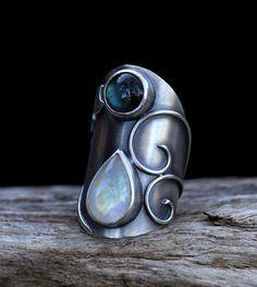 RESERVED Swirl moonstone labradorite and sterling by spiralstone