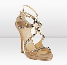 Nude sparkly wedding heels