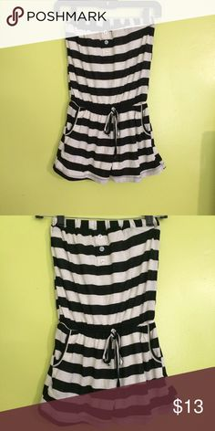 Black and white stripped romper Super cute strapless black and white stripped romper, with pockets Wet Seal Dresses Strapless