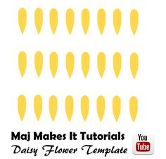 Hi guys !  This is the template i used to create the daisy flower, this may need to be adjusted in size to suit. I made this with Wilton Candy Melts. This is great as a dessert topper and chocolate decorations  Check out the tutorial here :) https://youtu.be/r0um5BIceVM