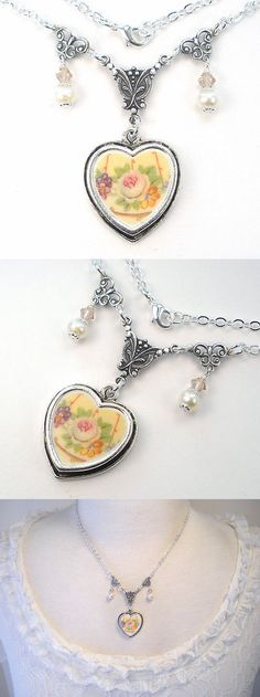Necklaces and Pendants 110655: Pink Rose Necklace Broken China Jewelry Pearl Crystal Silver Chain Vintage Charm -> BUY IT NOW ONLY: $42 on eBay!