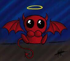 cute devil by MyRiie Demon Drawings, Dark Art Drawings, Amazing Drawings, Love Drawings, Animal Drawings, Spooky Halloween Pictures, Creepy Pictures, Halloween Drawings, Cute Pictures