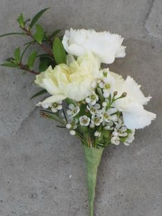 Yellow and white: 3 Mini carnation boutonniere