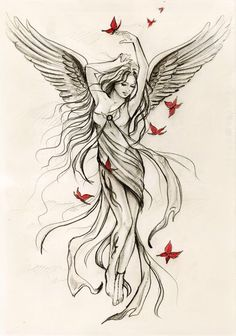 Maybe with Phoenix wings rising from her ashes looking battered...placement on thigh